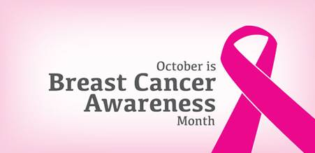 """Breast cancer awareness photo stating """"October is Breast Cancer Awareness Month"""" with a pink bow"""